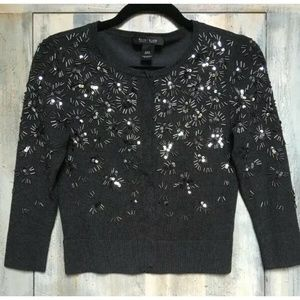 W H B M Beaded Sequined Cardigan Gray XXS